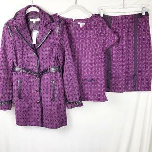 NY & CO Skirt suit 3 pc Size 6 S/M Purple NEW